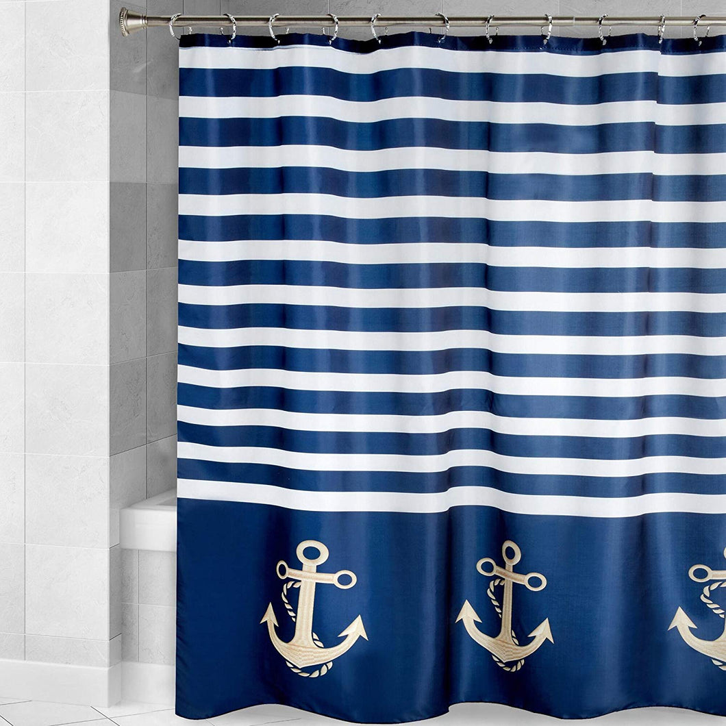 Nautical Anchor Navy Blue White Striped Fabric Shower Curtain