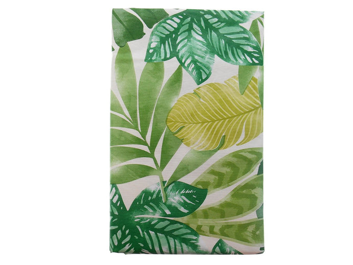 Tropical Foliage with Exotic Greens Vinyl Flannel Tablecloth 60