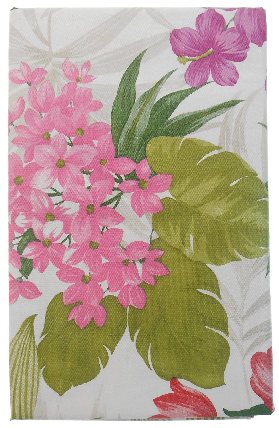 ... Tropical Red Pink Flowers Vinyl Flannel Back Tablecloth 52 X 70 Oblong  ...