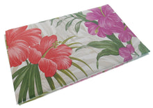 Tropical Red Pink Flowers Vinyl Flannel Back Tablecloth 60 inch Round