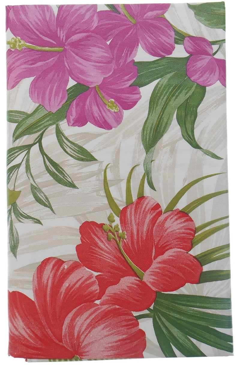 Tropical Red Pink Flowers Vinyl Flannel Back Tablecloth 52 X 70