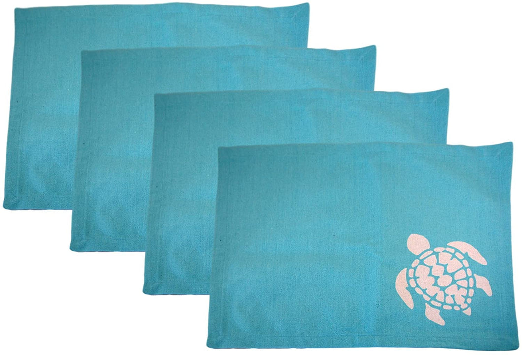 Coastal Sea Turtles Cotton Canvas Placemats Set of 4