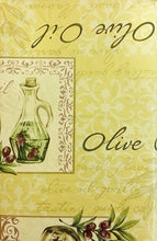 Tuscan Olive Oil and Olives vinyl flannel backed tablecloth 60 Round