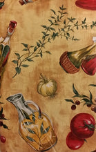 Tuscan Peppers Garlic Olive vinyl flannel backed tablecloth tablecover 52 x 90