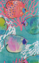 Elrene Under the Sea Fish Abstract Vinyl Flannel Back Tablecloth 52 x 70 Oblong
