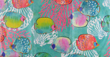 Elrene Under the Sea Fish Abstract Vinyl Flannel Back Tablecloth 60 Round