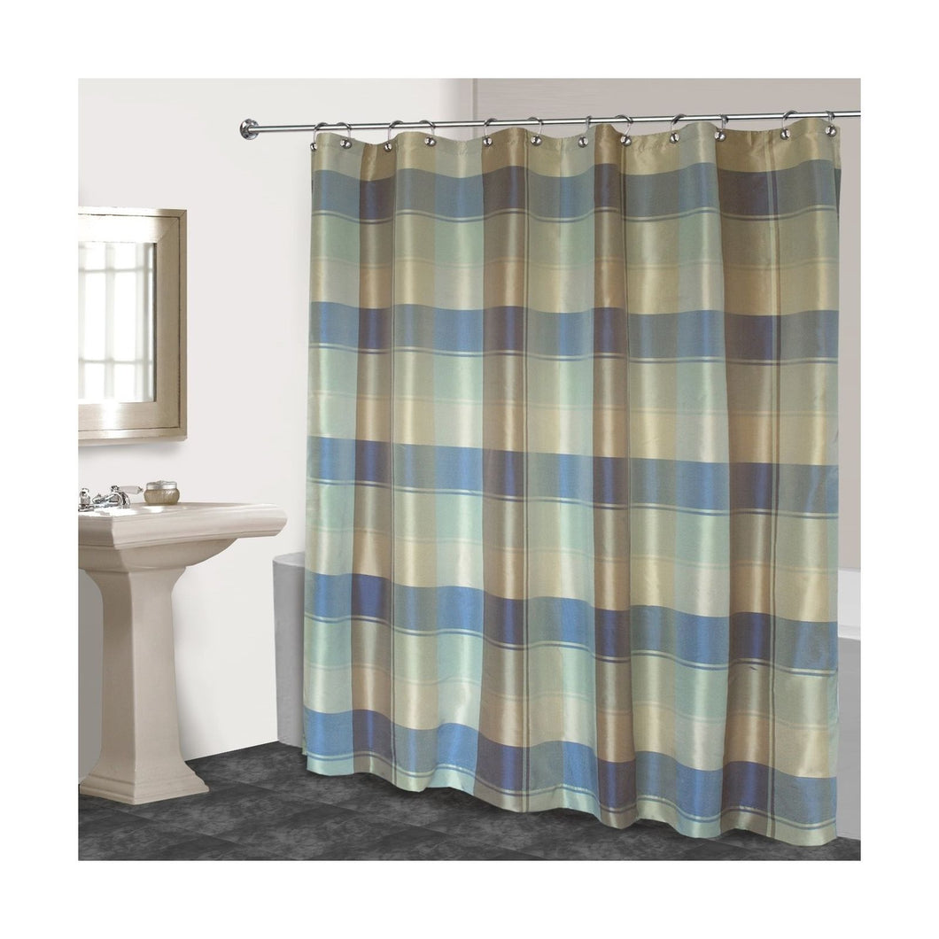 United Curtain Plaid Fabric Shower Curtain 70 x 72 Blue Green