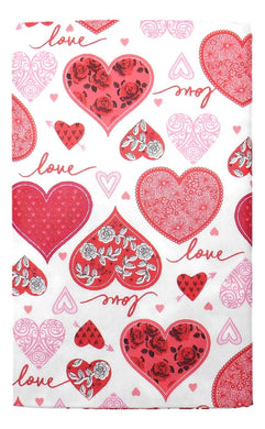 Valentines Day Vinyl Flannel Tablecloth Various Sizes Hearts Lace Flowers
