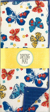 Vivid Butterflies Dish Drying Mat Microfiber Reversible To Solid Blue