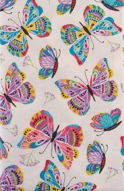 Vivid Butterflies and Floral Branches Vinyl Flannel Back Tablecloth 52 x 70 Oblong