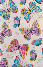 Vivid Butterflies and Floral Branches Vinyl Flannel Back Tablecloth 60 Round