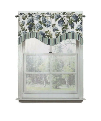 Waverly Blue Hydrangea Valance Curtain Floral Layer Arlington Height Cottage