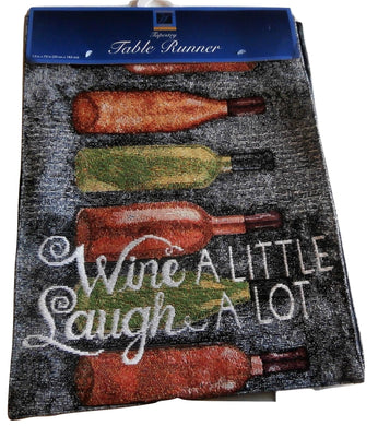 Windham Tapestry Table Runner Bottles Wine A Little Laugh A Lot 13 x 72