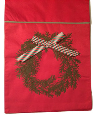 Windham Weavers Table Runner 13 x 72 Red Christmas Wreath Pine