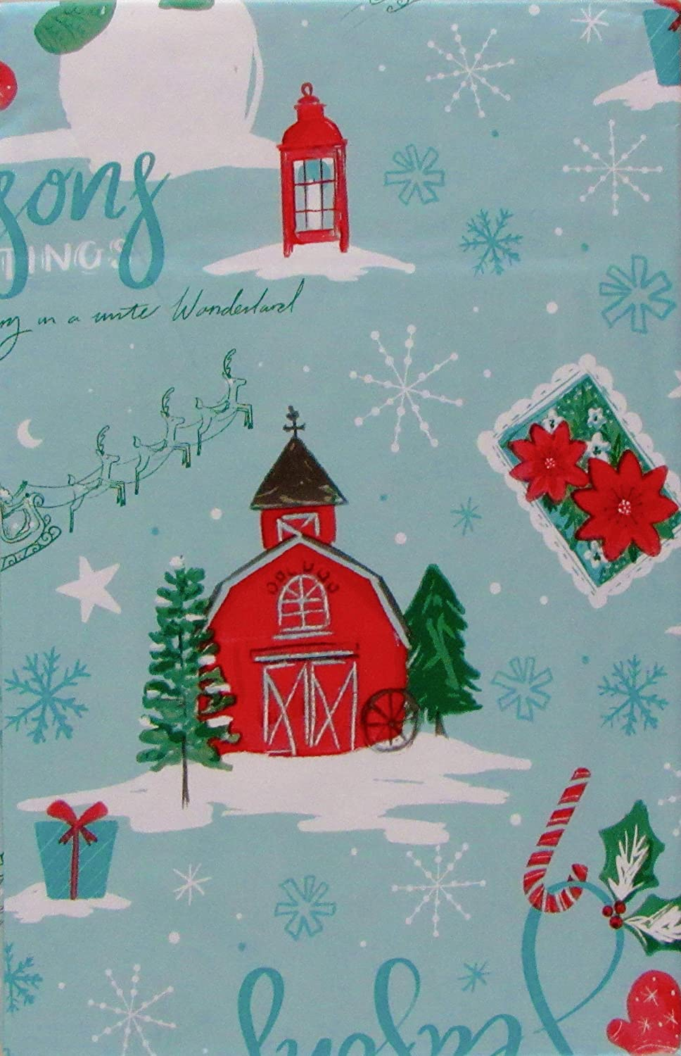 Christmas Walking in a Winter Wonderland Vinyl Flannel Tablecloth 52 x 70 Oblong