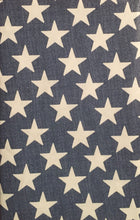 White Stars on Blue Vinyl Flannel Back Tablecloth 60 Round Patriotic Americana
