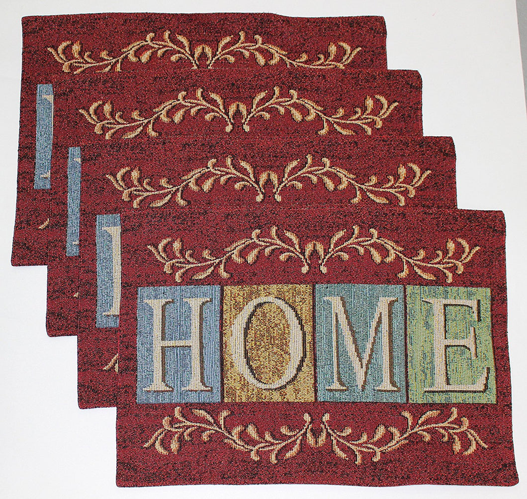 Windham Brick Red HOME Tapestry Placemats Set of 4 Country Cottage
