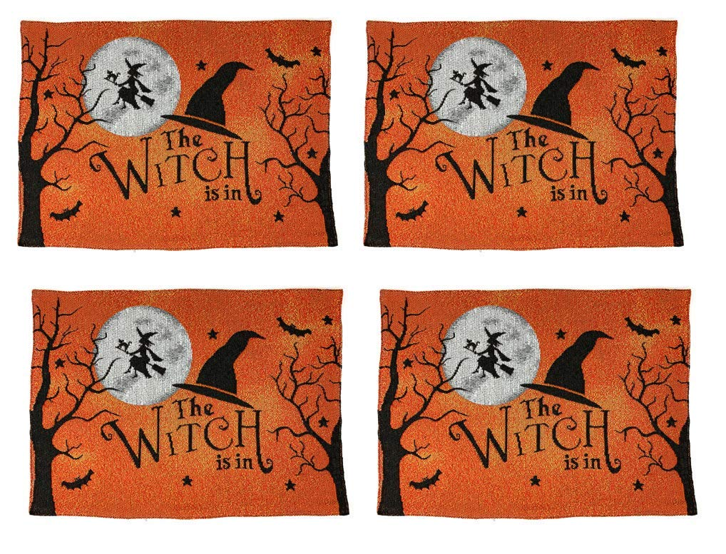 Windham Home Tapestry Placemats, Set of 4 Halloween The Witch is in