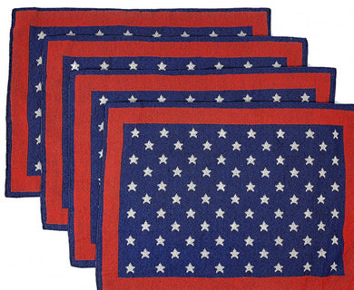 Windham Patriotic Americana Tapestry Placemats Set of 4 White Stars on Blue Red