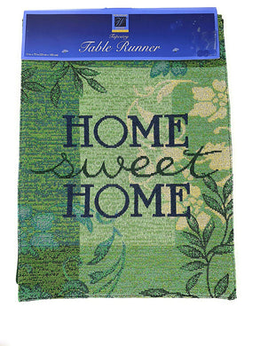 Home Sweet Home Green Tapestry Table Runner 13x72