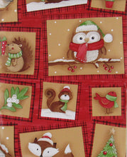 Elrene Woodland Creatures Christmas Patchwork Vinyl Flannel Back Tablecloth Various Sizes