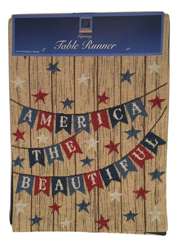 America the Beautiful Patriotic Americana Woven Tapestry Table Runner