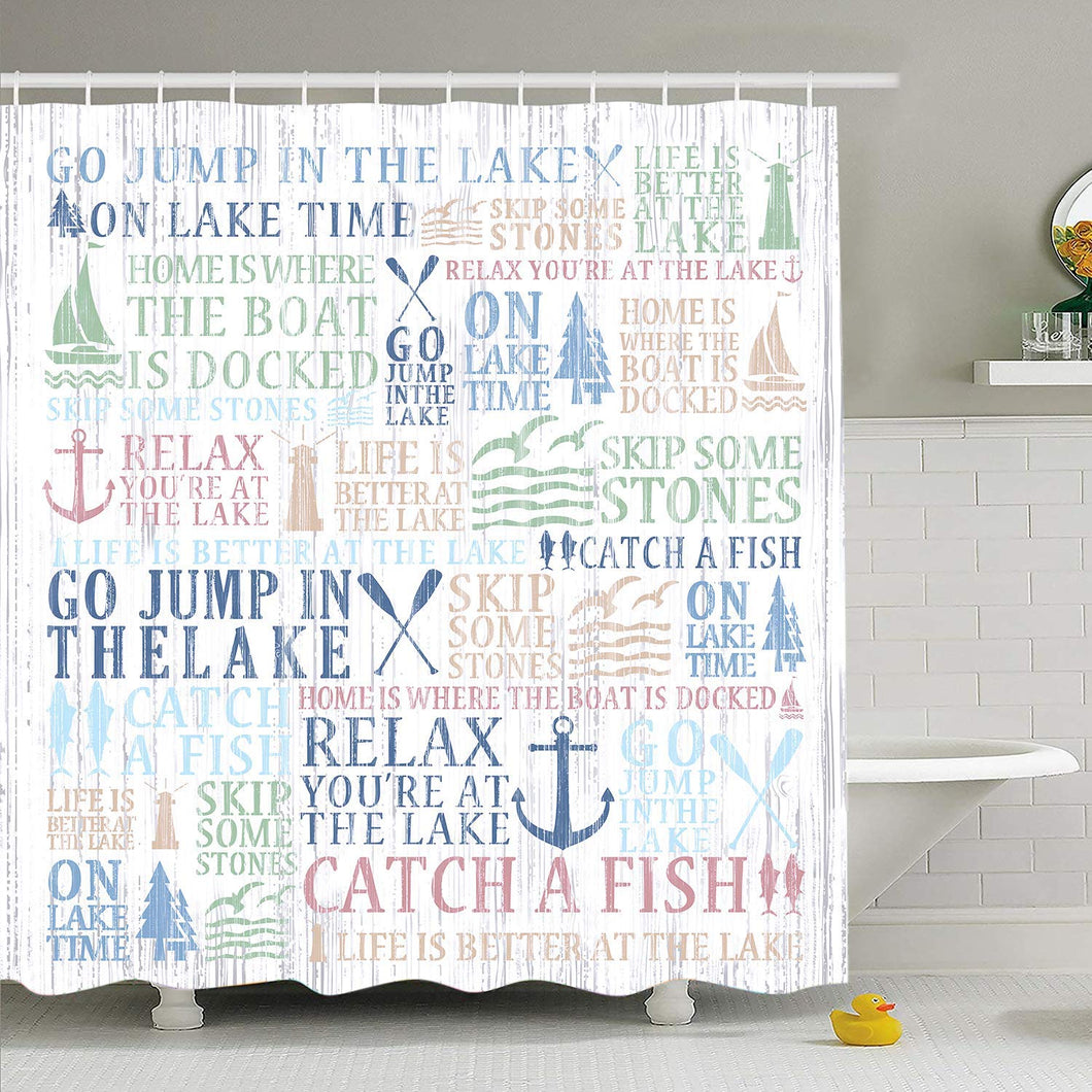 Lake Words Shower Curtain Cabin Boat Fishing