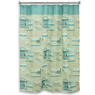 Beach Cruiser Fabric Shower Curtain Bike Rentals Summer House Coastal Bacova