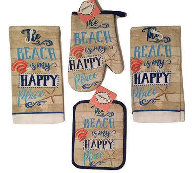 Beach is my Happy Place 4 pc kitchen towels potholder oven mitt set