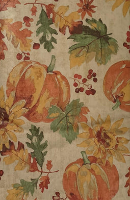 Tan Leaves Pumpkins Sunflowers Vinyl Flannel Back Tablecloth 52 x 70 Oblong