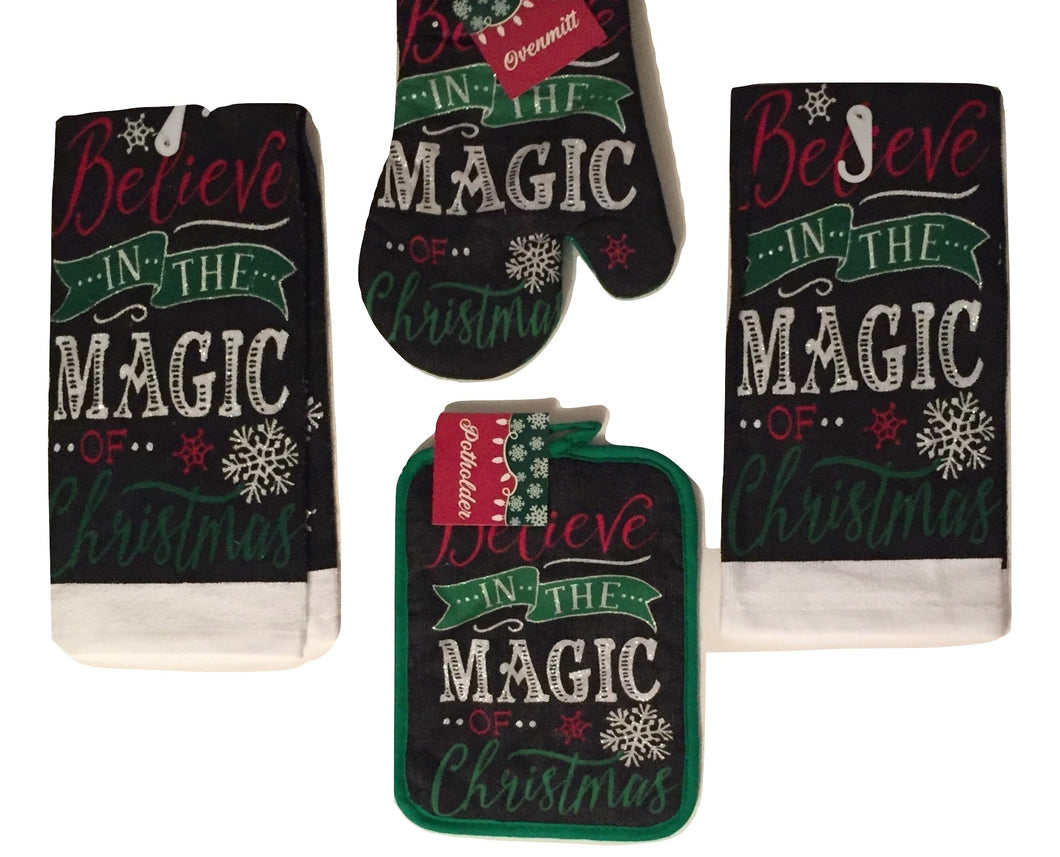 Christmas Kitchen Linen Set Towels Potholder Oven Mitt Believe in The Magic 4 pc