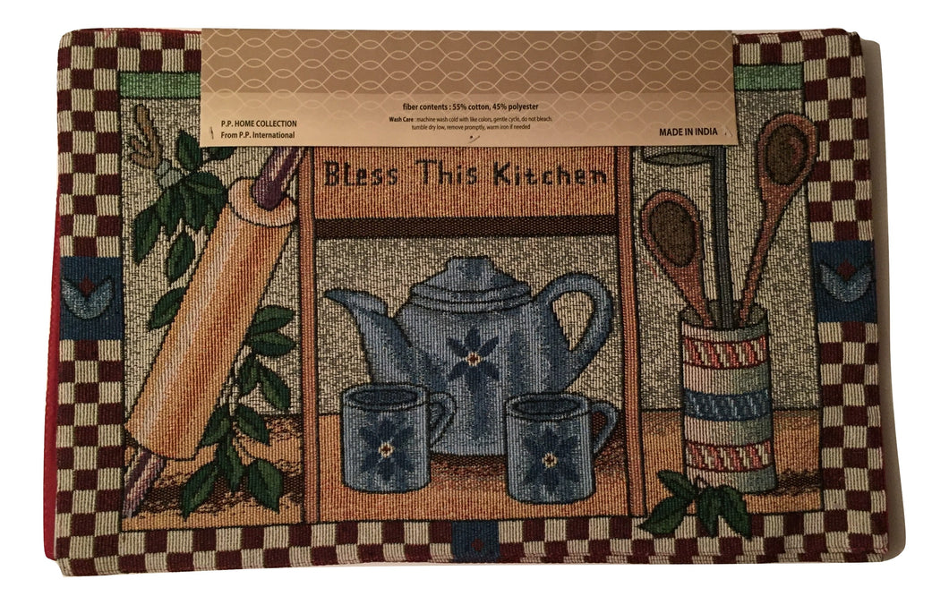 Tapestry Placemats Set Of 4 Bless This Kitchen Teapot Utensils