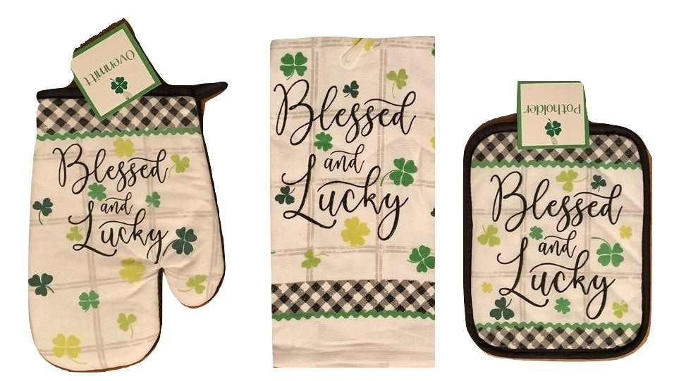 St Patricks Day Kitchen Linen Set Towel Potholder Oven Mitt Lucky and Blessed