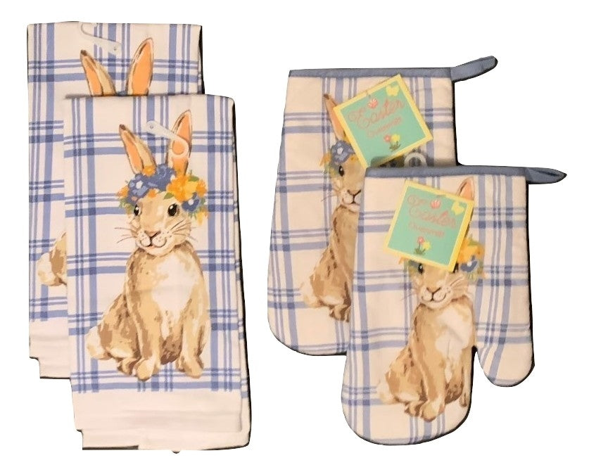 Blue Bunny 4 Piece Kitchen Set 2 Towels 2 Oven Mitts
