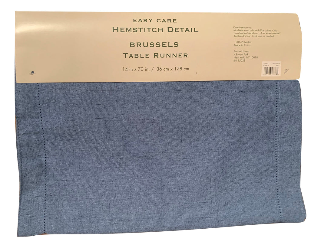 Bardwil Brussels Table Runner Hemstitch Periwinkle Blue 14 x 70