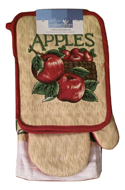 Bushel of Apples 5 piece Set Kitchen Towels Potholders Oven Mitt