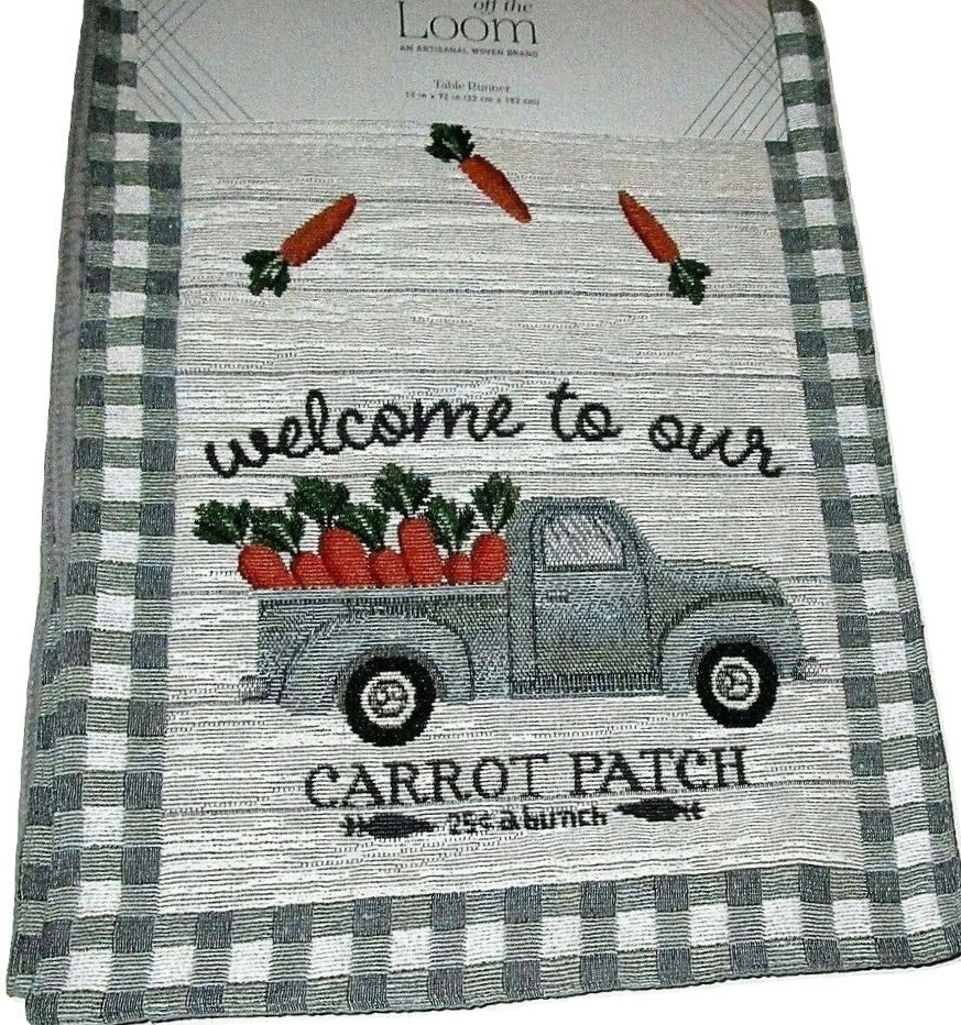 Carrot Patch Table Runner Tapestry 13 x 72 Easter Spring