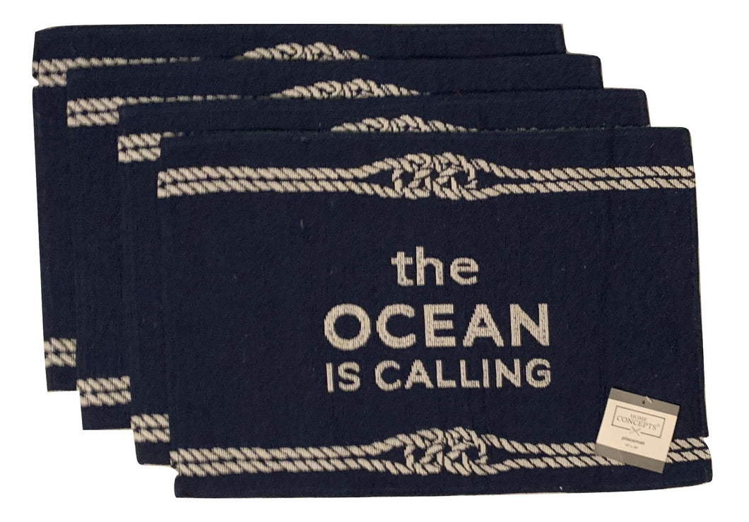 Tapestry Placemats Set of 4 The Ocean Is Calling Nautical Ropes Coastal Blue