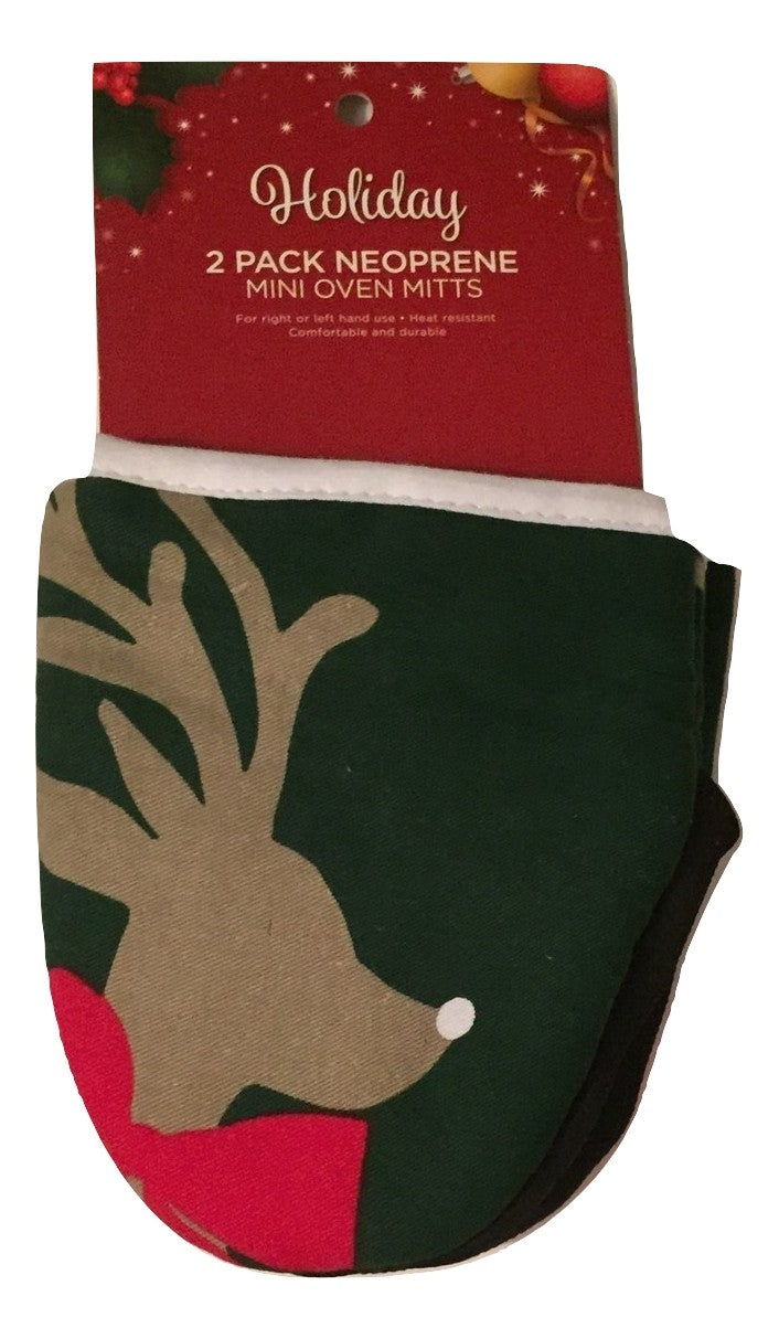 Neoprene Mini Oven Mitt Set of 2 Christmas Reindeer