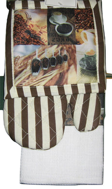 Brown White Coffee Java Mocha dish towel potholder oven mitt 3 piece set