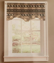 Bear Trail Cabin Plaid Double Layer Valance Brown 58 x 18