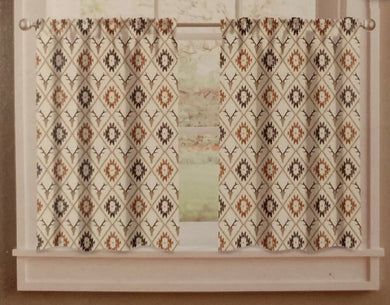 Cabin Trellis 58 x 24 Tier Set Kitchen Curtains