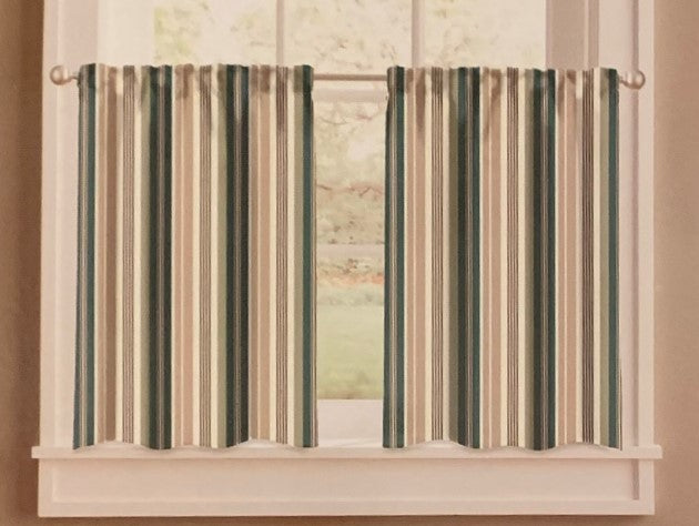 Forest Stripe Tier Set 58 x 24 Green Beige Lodge Woodland Kitchen Curtains