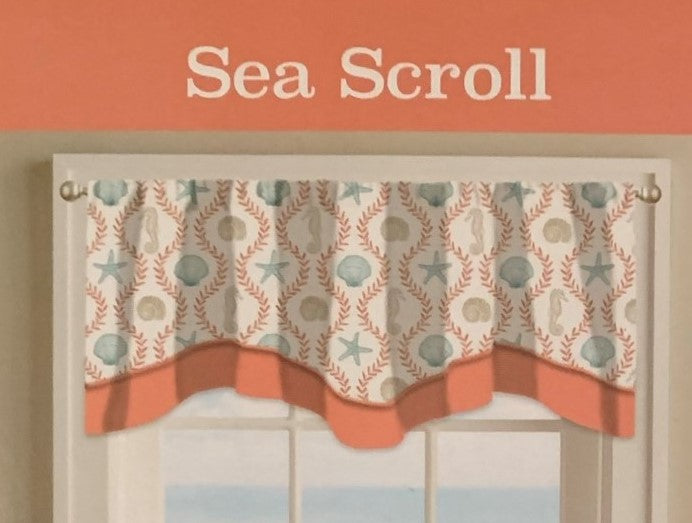 Sea Scroll CORAL Double Layer Valance 58 x 18 Starfish Seahorses Coastal
