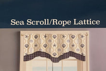 Sea Scroll Rope Lattice Double Layer Valance 58 x 18 Starfish Seahorses Coastal Navy