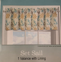 Set Sail Valance 60 x 14 Coastal Nautical Beach Curtain Anchors Ship Wheels
