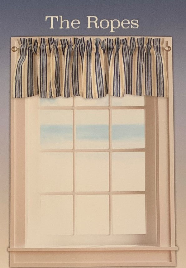 The Ropes Valance with Lining 60x14 Nautical Coastal Beach