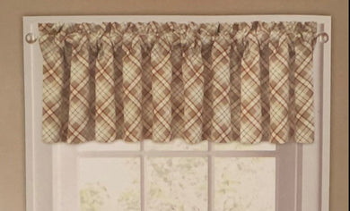Woodland Plaid Valance 60 x 14 Lodge Cabin Curtain Sand Beige