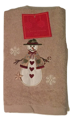 Christmas Country Snowman Embroidered Cotton Hand Towels Set of 2