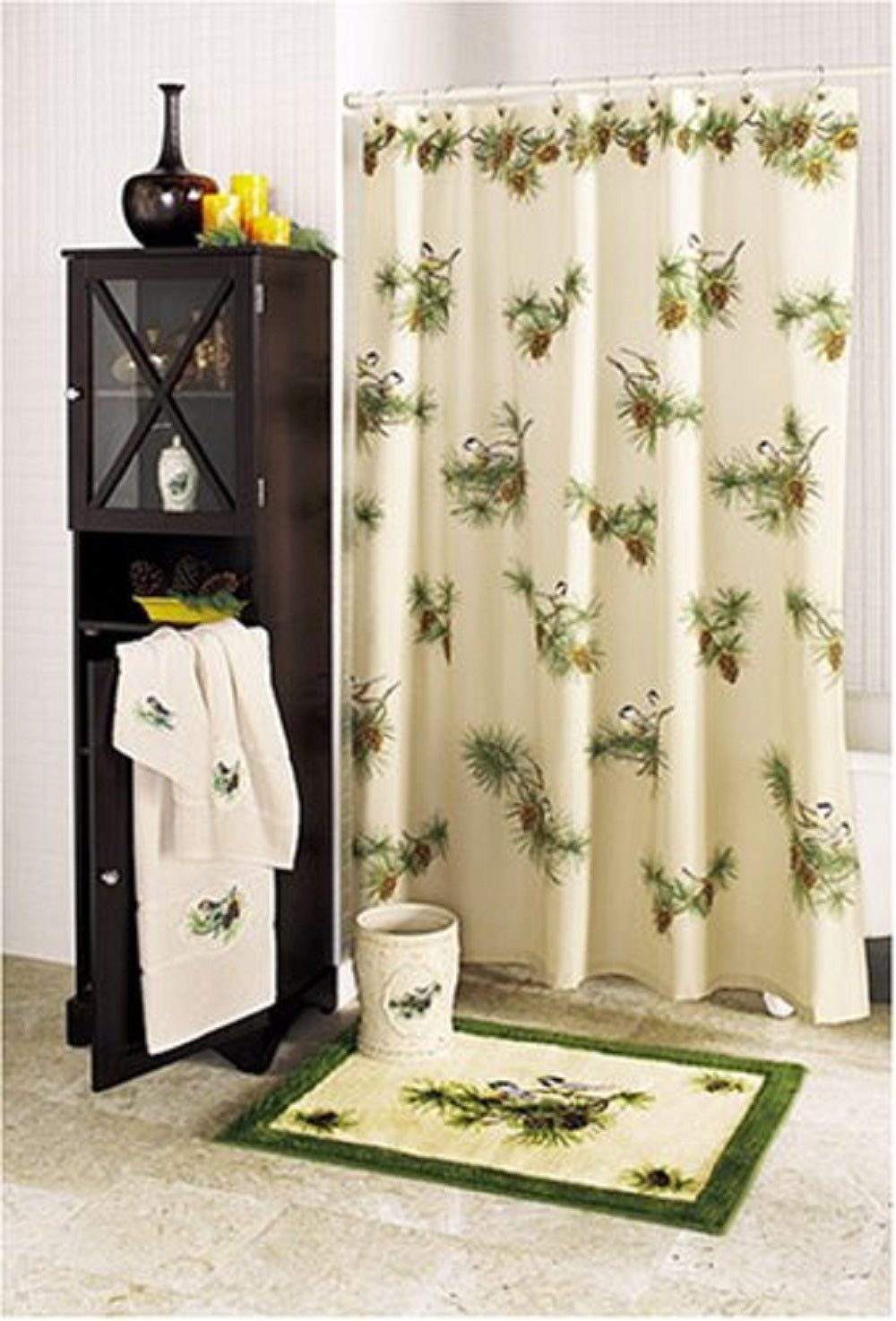 Hautman Chickadee Birds Fabric Shower Curtain